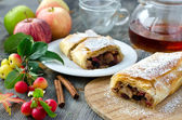 Strudel with apples and cinnamon  — Stock Photo