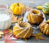 Pumpkin cakes with powdered sugar  — Stock Photo