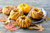 Pumpkin cakes with powdered sugar on wooden background  — Stock Photo