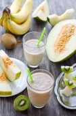 Fresh healthy smoothie with tropic fruits — Stock Photo