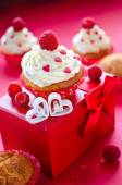 Saint Valentine's Day on february 14. Sweets for breakfast and g — Stockfoto