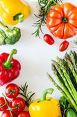 Fresh vegetables isolated on white copy space background — Stock Photo