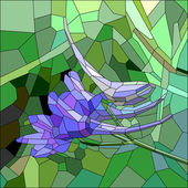 Stained glass with blue and lilac flower — Vector de stock