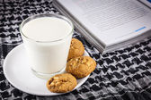 Milk, cookie and book  — Stock Photo