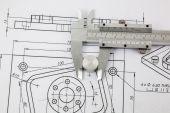 Caliper and machine parts  — Stock Photo