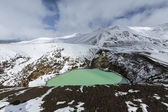 Giant volcano Askja offers a view at two crater lakes. The smaller, turquoise one is called Viti and contains warm geothermal water. Under snow. — Stock Photo