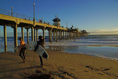 Pacific Ocean Huntington Beach Pier California — Stock Photo