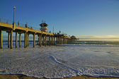 Huntington Beach Pier at sunset — Stock Photo