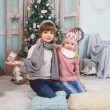Little children and Christmas tree — Stock Photo #58793627