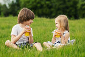 Little girl and brother — Stock Photo