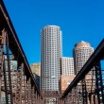 Boston waterfront with skyscrapers and bridge — Stock Photo #72177641