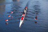 A Harvard's Crimson Lightweight Crew practicing for a race in th — Stok fotoğraf