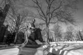 Yale university buildings in winter after snow storm Linus — Stock Photo