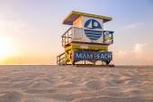 Colorful Lifeguard Tower in South Beach, Miami Beach — Stock Photo