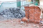 Bricks block in construction site — Stock Photo
