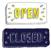 Открытые и закрытые знаки — Cтоковый вектор