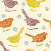 Seamless pattern with birds and flowers — Stock Vector