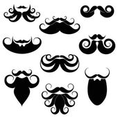 Silhouettes of weird beards — Stock Vector
