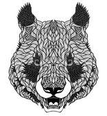 PANDA bear head tattoo. — Stock Vector