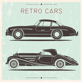 Vintage cars on a grunge background — Wektor stockowy