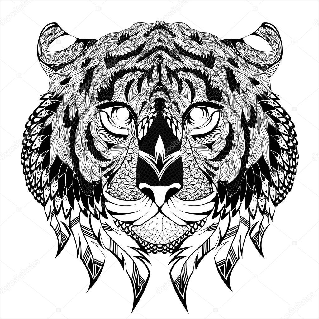 Tatouage de t te de tigre image vectorielle diana - Image tete de tigre ...