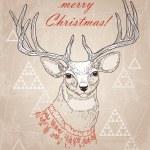 Christmas deer hand drawing — Stock Vector #67081401