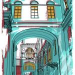 Street in St. Petersburg. illustration — Stock Vector #67095737