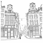 Amsterdam street. Watercolor style. — Stock Vector