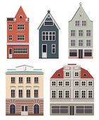 Set of the old Northern European buildings. — Stock Vector