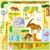 African Animals Tetris Collage — Stock Vector
