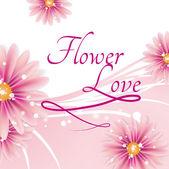 Roze wenskaart met mooie bloemen — Stockvector