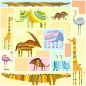 African Animals Tetris Collage Low Color — Stock Vector