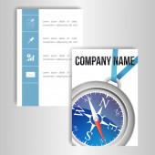 A set of cards with the image of a compass — Stock Vector