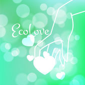 Stock blurred texture with bokeh effect and stylized hand in a graceful gesture and a shining heart. Eco-Style — Stock Vector