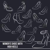 Ensemble de chaussures féminines avec des talons hauts, les lignes peintes — Vecteur