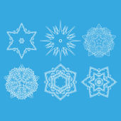 Set of vector monochrome flower mandala on a contrasting background. Snowflake — Stock Vector