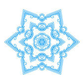 Vector monochrome flower mandala on a contrasting background. Big snowflake — Stock Vector
