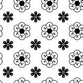 Black and White Vector Flower Pattern — Stock Vector