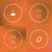 Set of coffee vector framework of the vines with hearts and coffee beans — Stock Vector