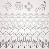 Set of vector filigree star, flowers, borders, frames and brushes of various women's shoes. — Stock Vector