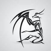 女孩,龙的纹身风格。矢量模式 — 图库矢量图片