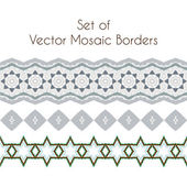 Set of vector exquisite filigree borders or brush style mosaics and inlay — Stock Vector