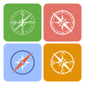 Icons depicting four different compasses — Stock Photo
