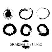 Set of grunged traced circles by painbrush and ink — Stock Photo