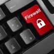 Keyboard red button firewall lock symbol — Stock Photo #53453771
