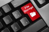 Keyboard red button file storage — Stock Photo