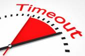 Clock with red seconds hand area timeout illustration — Stock Photo