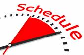 Clock with red seconds hand area schedule illustration — Stock Photo