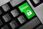 Keyboard green button unlock symbol — Stock Photo
