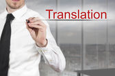 Businessman writing in the air translation — Stock Photo